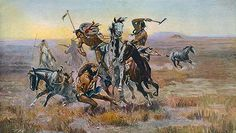 Title: When Sioux and Blackfeet Met, 1902 Artist: Charles Marion Russell Medium: Hand-Painted Art Reproduction