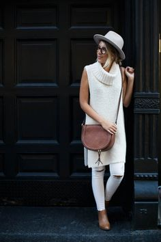simple color pallete; love the sleeveless turtleneck and hat