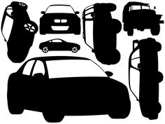 Black and White Car Wall Decals Style 2