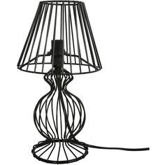 Wire Frame Table Lamp in Black (1.705 RUB) ❤ liked on Polyvore featuring home, lighting, table lamps, wire table lamp, wire lights, handmade lights, wire lamp and onyx table lamps