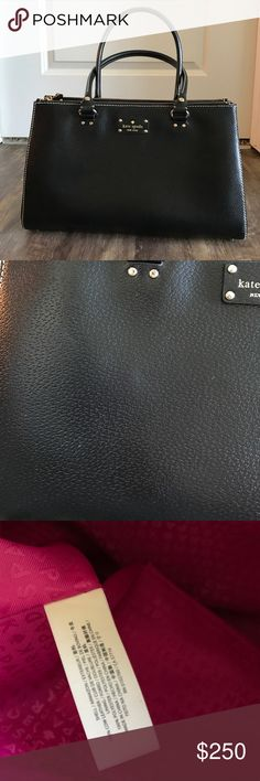EUC Kate Spade Satchel Black leather handbag. Two open front pockets and a zipped pocket on the back side. Two zipper opening son top of bag offer more space. Hot pink lining. Gold accents. Bag snaps shut. Two snaps on the side so you can expand the bag if needed.  Only used 3 or 4 times. very minor blemishes on the front leather, shown in pictures. You can't really tell unless you're inspecting it very closely. It's in excellent condition. There is no shoulder strap. Will consider…