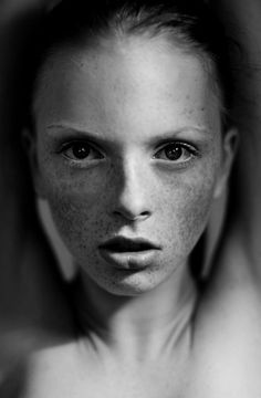 Portraiture - Portrait - Freckles - Black and White Photography Human Photography, Portrait Photography, Black And White Portraits, Black And White Photography, Freckle Face, Portrait Images, Face Expressions, Beauty Shots, Photo Black