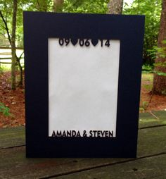 Custom Photo Matting Couples Names & Wedding Date by WoodBeeLove