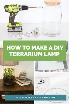 Stacy from Not Just a Housewife created a beautiful DIY terrarium lamp using our lampshade and wiring supplies, a bunch of green terrarium plants and a large jar with a wood lid. Terrarium Diy, Small Terrarium, Hanging Terrarium, Diy Simple, Easy Diy, Online Craft Store, Craft Stores, Grands Pots, Alcohol Bottles