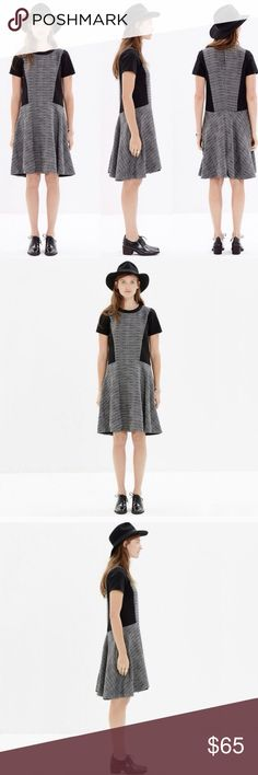 "Madewell Textured Tweed Tribune dress Madewell Textured Tweed Tribune dress- has a keyhole back and is fully lined! Bust-42""/ waist is 44""/ length is 34"" Madewell Dresses Midi"