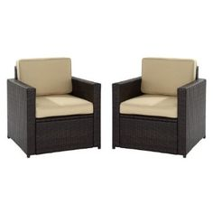 Palm Harbor 2 Piece Outdoor Wicker Seating Set - Two Outdoor Wicker Chairs