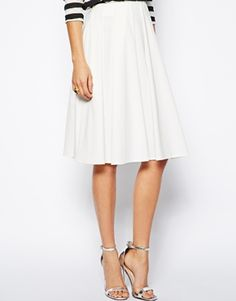 Image 4 ofASOS Midi Skirt in Ponte with Bold Pleats