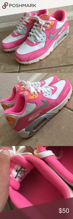Women's Nike Air Max size 7Y/9 women's This is a pair of Nike Air Max size 7Y or Women's 8.5-9. These have been worn once and didn't fit me right. Colors  are adorable in pink/white/orange. No box but like new! Nike Shoes Athletic Shoes
