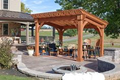 Amish Santa Fe Pine Pergola Kit It's like having a resort in your backyard. Customize this pine pergola with stain, post style, and shade curtain options. Cheap Pergola, Outdoor Pergola, Wooden Pergola, Backyard Pergola, Pergola Shade, Patio Roof, Pergola Plans, Pergola Ideas, Patio Ideas