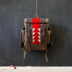 We'd be seriously happy campers toting around canvas and wool patchwork backpacks like this one. #etsyfinds