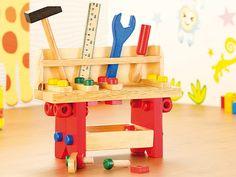 Playtastic Lustige Holzwerkbank für kleine Handwerker, 51 teilig