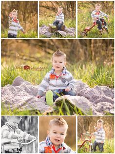 with John Deere tractor bike Toddler Boy Photos, Toddler Photo Props, Baby Boy Photos, Toddler Boys, 18 Month Pictures, Boy Pictures, Newborn Pictures, Sibling Poses, Kid Poses