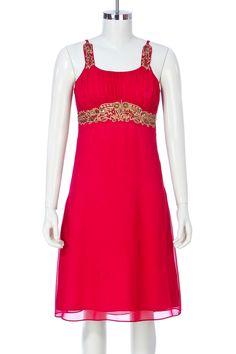 The Trance Dress is a knee length dress with beaded belt and straps. Ruched bodice and side zipper opening