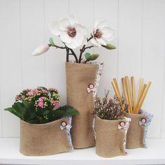 Handmade Hessian Vase Wrap- an easy diy