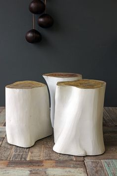 Tree Trunk Side Table - White …