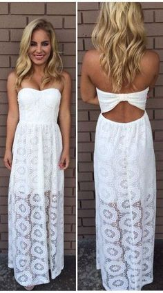 White strapless maxi dress for summers