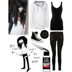 """Jeff The Killer"" by partypoison-cc on Polyvore ~ Thats amazing all I need is the white hoodie"