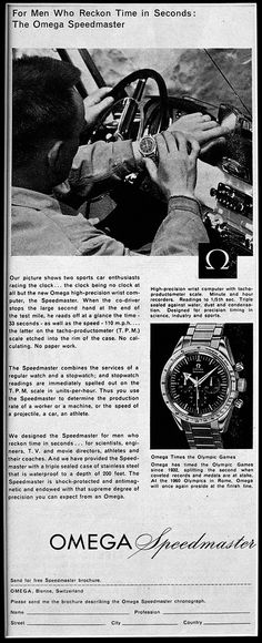 Speedy Tuesday - Fratello Watches talks about the Omega Speedmaster Racing with red hands and indexes. Modern Watches, Luxury Watches For Men, Vintage Watches, Cool Watches, Rolex Watches, Omega Speedmaster 1957, Omega Seamaster, Vintage Advertisements, Vintage Ads