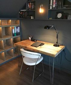 Chic Reclaimed Wood Office Desk industrial chic reclaimed custom steel wood trapezium bookcase media shelving unitdvd books cafe restaurant furniture rustic office 243 Industrial Chic Reclaimed Custom Hairpin Leg Office Desk Tables 014 Steel And Wood Metal Hand Made