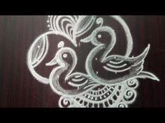 Latest unique birds rangoli designs with
