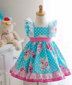 Ms Evelyn Girls Boutique Dress at Kinder Kouture Clothing. Cute Little Girls Outfits, Little Girl Dresses, Kids Outfits, Baby Frocks Designs, Kids Frocks Design, Toddler Dress, Baby Dress, The Dress, Frocks For Girls