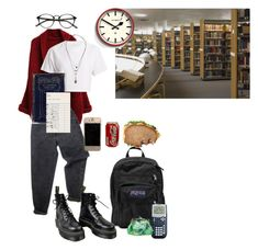 """""""Lunch in the Library"""" by uhhhhhlane ❤ liked on Polyvore featuring WithChic, JanSport, Levi's, Dr. Martens, Hanes, Rachael Ray, Newgate and Topshop"""