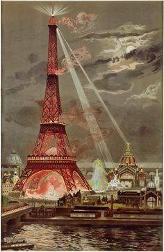 Georges Garen | Embrasement de la Tour Eiffel pendant l'Exposition Universelle…
