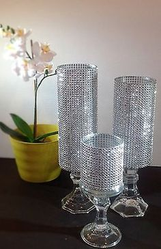 Trend It Up Set of 3 Tall Silver Rhinestone crystal Candle holders, Glass Wedding Centerpieces Pillar Crystal Holder,cylindrical candle holder - Handmade Wedding Table, Diy Wedding, Trendy Wedding, Wedding Ceremony, Church Wedding, Wedding Programs, Rustic Wedding, Wedding Gifts, Crystal Holder