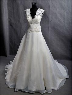 Custom Make Vintage Lace Organza Wedding Dress Bridal by wonderxue, $255.00