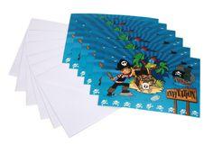 6 invitations Pirates et 6 enveloppes DYNASTRIB pour inviter les matelots