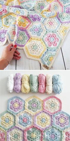 Hexagon Crochet Pattern, Crochet Hexagon Blanket, Crochet Quilt, Crochet Flower Patterns, Crochet Stitches Patterns, Crochet Squares, Diy Crochet, Crochet Crafts, Crochet Projects