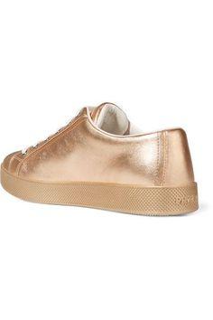 Prada - Metallic Textured-leather Sneakers - Gold - IT38.5