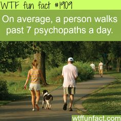 How many psychopaths do you walk by a day? - WTF fun facts I'm sure tumblr users walk by 0 psychopaths…because they simply don't walk. OR (another theory) ALL of tumblr users are psychopaths!