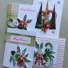 Quilled Christmas/ Quilling Holiday Cards by OlygamiCrafts on Etsy
