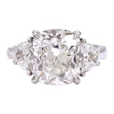 1stdibs   Magnificent Cushion Cut Diamond Engagement Ring GIA Cert