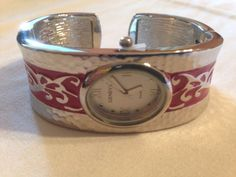 New Silver & Red Geneva Cuff Watch #Geneva #Fashion