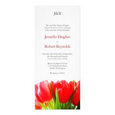 Shop Red Tulips Wedding Invitation created by floraluniverses. Red Wedding Invitations, Tulip Wedding, Wedding Stuff, Wedding Ideas, Red Tulips, Ceremony Decorations, Text Color, Wedding Cakes, Stationery