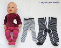 Ompele Baby Born nukelle sukkahousut Sewing Doll Clothes, Baby Doll Clothes, Sewing Dolls, Doll Clothes Patterns, Barbie Clothes, Doll Patterns, Clothing Patterns, Diy Clothes, Sewing For Kids