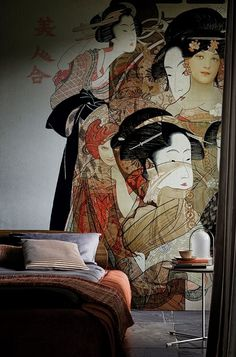 New 2016 collection: beautiful wallpaper mural NOUVEAU GEISHA designed by Ctrlzak for Wall and Deco Italy. Available in 2 color shades.This non woven wallpaper will be made on demand in the size you need and comes in roles of 47 cm. Wallpaper Wall, Wallpaper 2016, Bedroom Wallpaper, Deco Design, Wall Design, Design Studio, Studio Art, Wallpaper Collection, Wall Murals