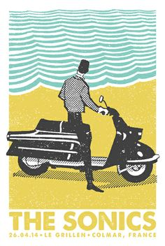 The Sonics by Lastleaf Printing  This reminds me of a matchbox art piece but I think it was much larger in size. I really like the colors and the Vespa style scooter.