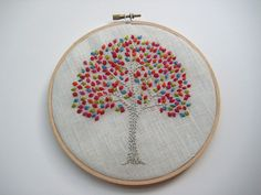 embroidered tree hoop art