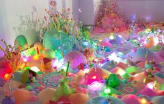 If Pip and Pop's colorful work looks good enough to eat, that's because it is — sort of. The artist creates bright, crystalline installations using sugary candy, glitter, and cheap toys… Illusion Kunst, Illusion Art, Instalation Art, Creation Art, Candy Art, Taste The Rainbow, Glitter, Magazine Art, Oeuvre D'art