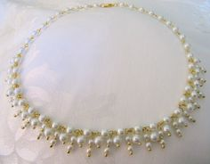 Bridal Pearl necklace with Swarovski pearl dangles by Beyourbeautifulself, $42.00