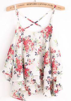 White Spaghetti Strap Floral Chiffon Vest pictures