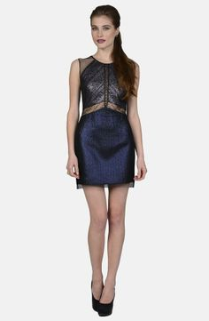 Phoebe Couture Mixed Media Sheath Dress   Love the colors. Would make an awesome Christmas or New Year's dress. Very Gatsby