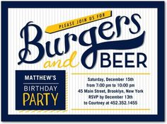 Burgers and Beer - Adult Birthday Party Invitations in Baltic or Winterberry | Petite Alma