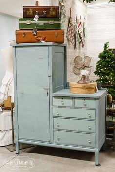 Robin's Egg Blue was created using 2 parts Shutter Gray and 1 part Kitchen Scale. This vintage wardrobe looks lovely in this soft/blue/gray/green combination!