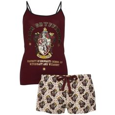 Harry Potter Gryfindor Cami PJ Set ❤ liked on Polyvore featuring intimates