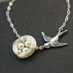Birds Nest Necklace, Pearl Sterling Silver Birds Nest Necklace, MOTHERS NEST Collection