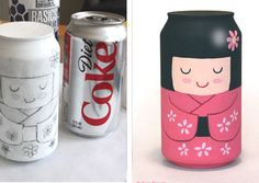 Geisha hecha con una lata pintada Fun Crafts, Arts And Crafts, Aluminum Cans, Diet Coke, Kokeshi Dolls, Diy Home Decor, Recycling, Projects To Try, Water Bottle